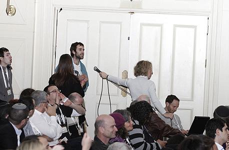 קהל מתפרע במהלך הנאום של ראש הממשלה, צילום: מיקי אלון