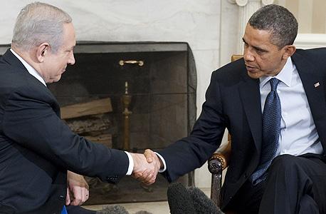 הנשיא ברק אובמה ראש הממשלה בנימין נתניהו פגישה בבית הלבן מרץ 2011, צילום: איי אף פי