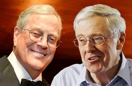 """צ'רלס (מימין) ודיוויד קוך. """"אנחנו גאים להיות החברה הגדולה ביותר שלא שמעתם עליה"""""""