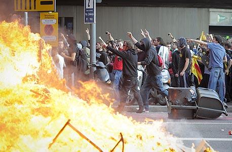 הפגנה במדריד על רקע הקיצוצים