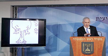 נתניהו עם העץ שנועד להציג את מצבה של מדינת ישראל