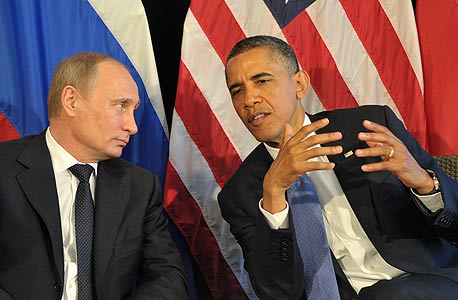 """נשיא ארה""""ב ברק אובמה ונשיא רוסיה ולדימיר פוטין, צילום: MCT"""