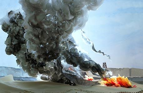 """""""התפוצצות עם עקבות טרקטור"""", 2006. """"קו התפר שבין הגעגועים למקומות ולנופים שכבר אינם לבין המודעות לבעייתיות שבהם"""""""