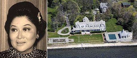 מימין: הבית המוצע למכירה ואימלדה מרקוס חובבת הנעליים