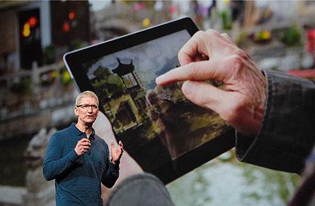"""משדר אופטימיות. טים קוק, מנכ""""ל אפל, צילום מסך"""