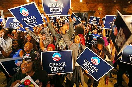 בחירות ארהב ניצחון ברק אובמה, צילום: איי פי