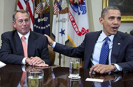 ברק אובמה ג'ון ביינר, צילום: איי פי