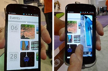 מימין: מעבר בין יישומים פעילים בגרירת פינת המסך. משמאל: יישום לוח שנה בעל ממשק ברור
