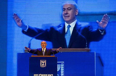 בנימין נתניהו בכנס הבחירות של הליכוד, צילום: טלי מאייר