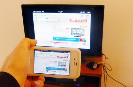שיקוף מסכים מלא מהאייפון למסך - בעזרת אפל TV, צילום: עומר כביר