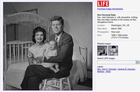 "נשיא ארה""ב ג'ון קנדי ז'קלין קנדי ובתם קרולין קנדי תמונות לייף גוגל, צילום מסך: images.google.com"