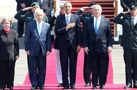 ברק אובמה ב ביקור בארץ בנימין נתניהו שמעון פרס, צילום: איי אף פי