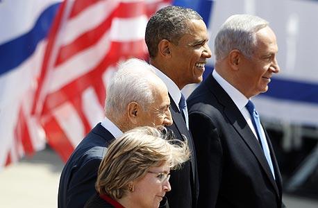 ברק אובמה ב ביקור בארץ בנימין נתניהו שמעון פרס, צילום: רויטרס