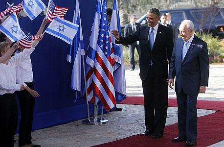 שמעון פרס ברק אובמה ביקור אובמה בישראל, צילום: איי אף פי