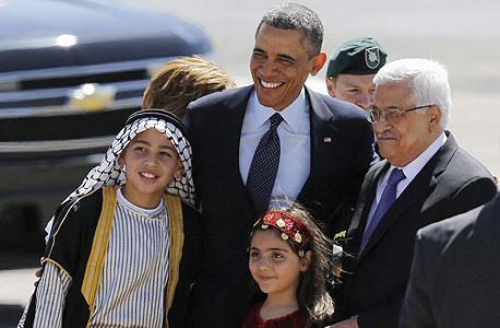 ברק אובמה אבו מאזן ב רמאללה ילדים פלסטנים, צילום: רויטרס