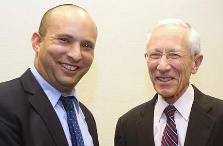 נפתלי בנט שר הכלכלה ו סטנלי פישר נגיד בנק ישראל, צילום: יוסי זמיר