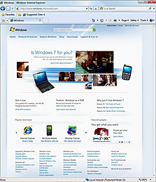 תואמת לוויסטה, זורמת יותר. אינטרנט אקספלורר בחלונות 7, צילום מסך: מיקרוסופט