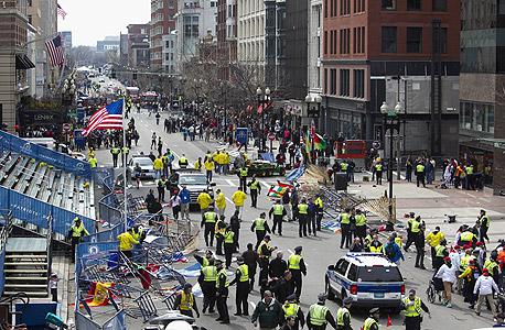 זירת הפיגוע במרתון בוסטון, צילום: בלומברג