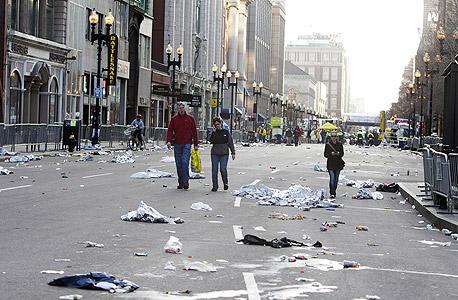 זירת הפיגוע בבוסטון, צילום: בלומברג