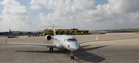 A private jet on the tarmac of Ben Gurion International Airport. Photo: Amit Shaal
