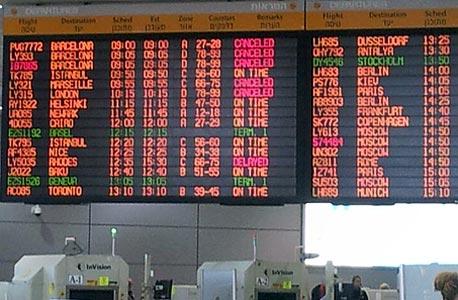 """ביטולי טיסות ב נתב""""ג אפריל 2013 שביתה, צילום: ענת פלר"""