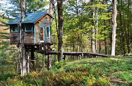 """forest tree house, ורמונט ארה""""ב. 150 דולר ללילה"""