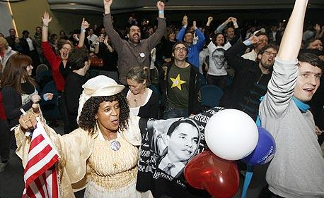 ברק אובמה נאום הניצחון של אובמה, צילום: בלומברג