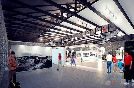 הצעה למוזיאון לתולדות מקוה ישראל בחלל הנטוש שמעל בית הכנסת, הדמיה: ציונוב ויתקון אדריכלים