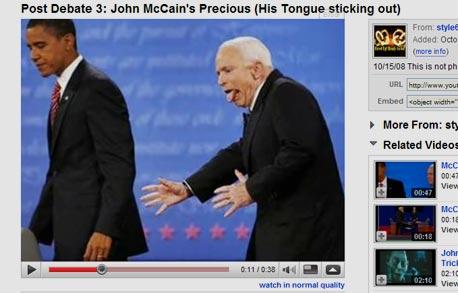 """סרטון יוטיוב ג'ון מקיין לשון בחירות ארה""""ב ברק אובמה, צילום מסך: youtube.com"""