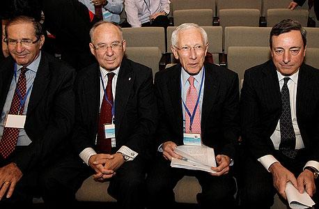 מאריו דראגי סטנלי פישר יעקב פרנקל ודן פרופר, צילום: מיקי נועם אלון