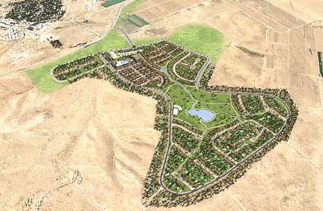 הדמיה של היישוב ליד רביבים. בתים צמודי קרקע מסביב למגרש גולף