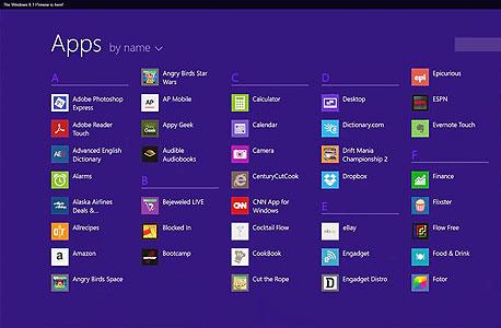 ווינדוס 8.1 מיקרוסופט מראה את תפריט ה-start menu האלטרנטיבי רשימת אפליקציות