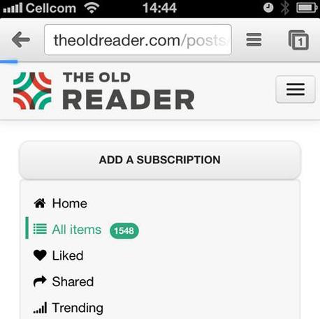 The Old Reader, גרסת המובייל של האתר
