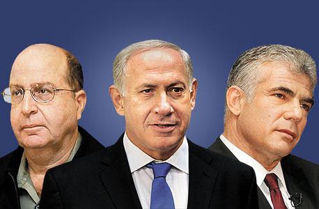 שר האוצר, יאיר לפיד, ראש הממשלה בנימין נתניהו ושר הביטחון משה (בוגי) יעלון. ההפרטה בידיים שלהם