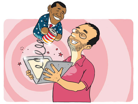 איור צביקה בשור מחובר ברק אובמה בחירות, איור: ליאב צברי