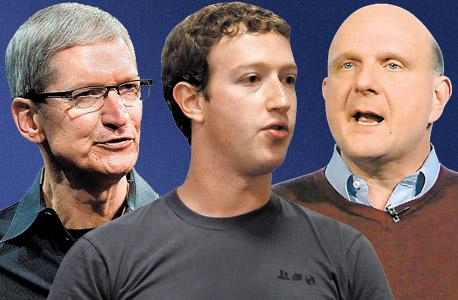 סטיב באלמר מארק צוקרברג טים קוק מיקרוסופט פייסבוק אפל NSA PRISM, צילום: בלומברג