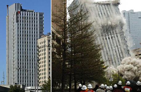מגדל לנדמרק, לפני  ותוך כדי הפיצוץ