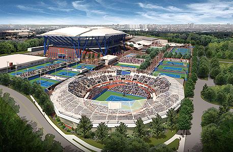 הדמיה של המרכז החדש בקווינס. האצטדיון, המכיל 22.5 אלף מושבים, ונחשב לאצטדיון הטניס הגדול בעולם, בנוי על מזבלה, ולהערכת המומחים ייתכן והיא לא תוכל לשאת את המשקל הנוסף כתוצאה מהגג החדש