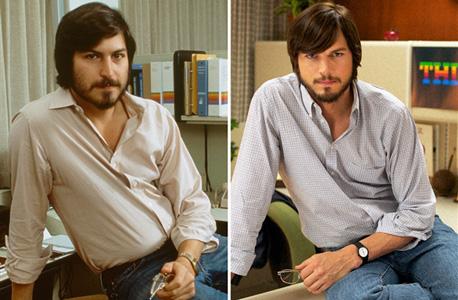 """הופרדו בלידתם: סטיב ג'ובס (משמאל) ואשטון קוצ'ר המגלם אותו בסרט """"ג'ובס"""""""