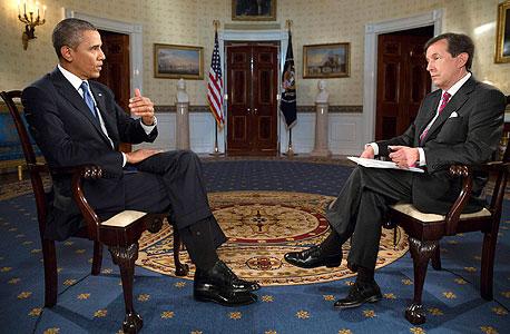 """הנשיא אובמה בראיון לרשתות הטלוויזיה בארה""""ב בנושא התקיפה בסוריה, צילום: רויטרס"""