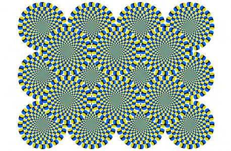 נפלאות הראיה. האיור סטטי, אבל בעין רואה תנועה. הנטייה של העין לעשות זאת היא עדות לקיומן של תנועות עין זעירות שהכרחיות לחישוב מהירות התנועה