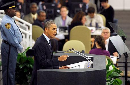 """ברק אובמה נואם באו""""ם, צילום: אם סי טי"""