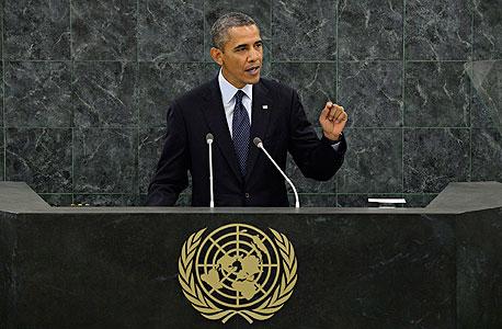 """ברק אובמה נואם באו""""ם, צילום: אי פי איי"""