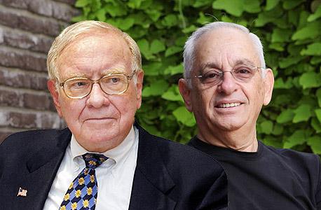 """מימין וורן באפט ו יגאל פונט מנכ""""ל ריי קיו ray Q חברה שנרכשה על ידי וורן באפט, צילום: ערן-יופי כהן, עמית שעל"""