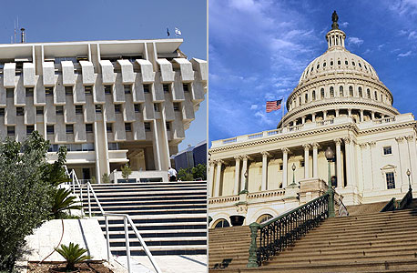 """מימין קפיטול היל קונגרס ארה""""ב בנק ישראל, צילום: Index Open, בלומברג"""