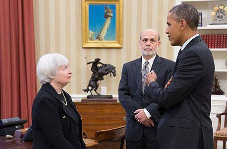 ברק אובמה בן ברננקי ג'נט ילן, צילום: Pete Souza, הבית הלבן