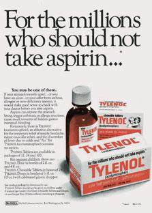 פרסומת מוקדמת לטיילנול מ-1974. תדמית הבטיחות היא האסטרטגיה