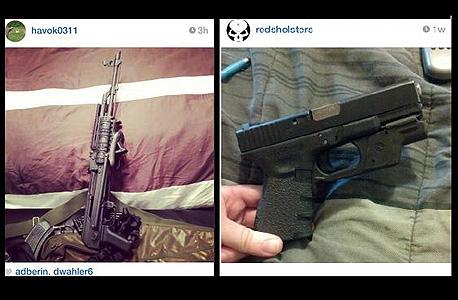 """גם נשק למכירה, גם תמונות של מי ש""""מלשין"""" למשטרה. אינסטגרם"""