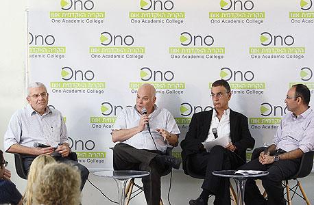 הפאנל בכנס. מימין: ירון זליכה, יורם גבאי, אהרון פוגל ואלי יונס, צילום: אוראל כהן