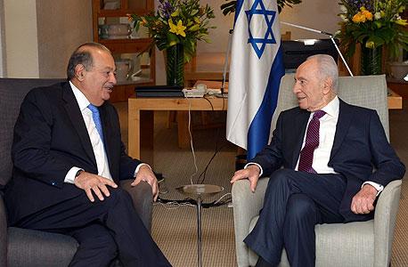 שמעון פרס נשיא המדינה פגישה עם קרלוס סלים ב מקסיקו